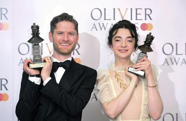 Kyle Soller and Patsy Ferran at the Olivier Awards ceremony in London, Sunday April 7, 2019. (Ian West/PA via AP)