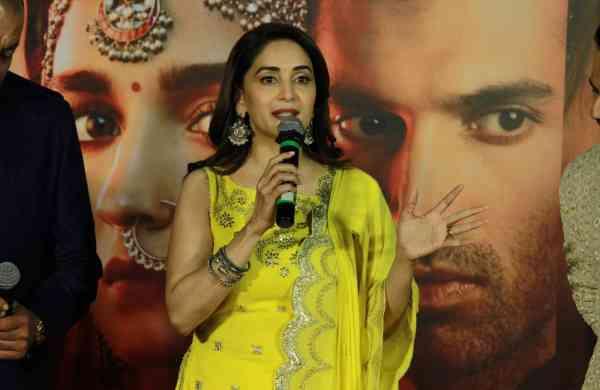 Mumbai: Actress Madhuri Dixit Nene at the trailer launch of upcoming film 'Kalank' in Mumbai, on April 3, 2019. (Photo: IANS)