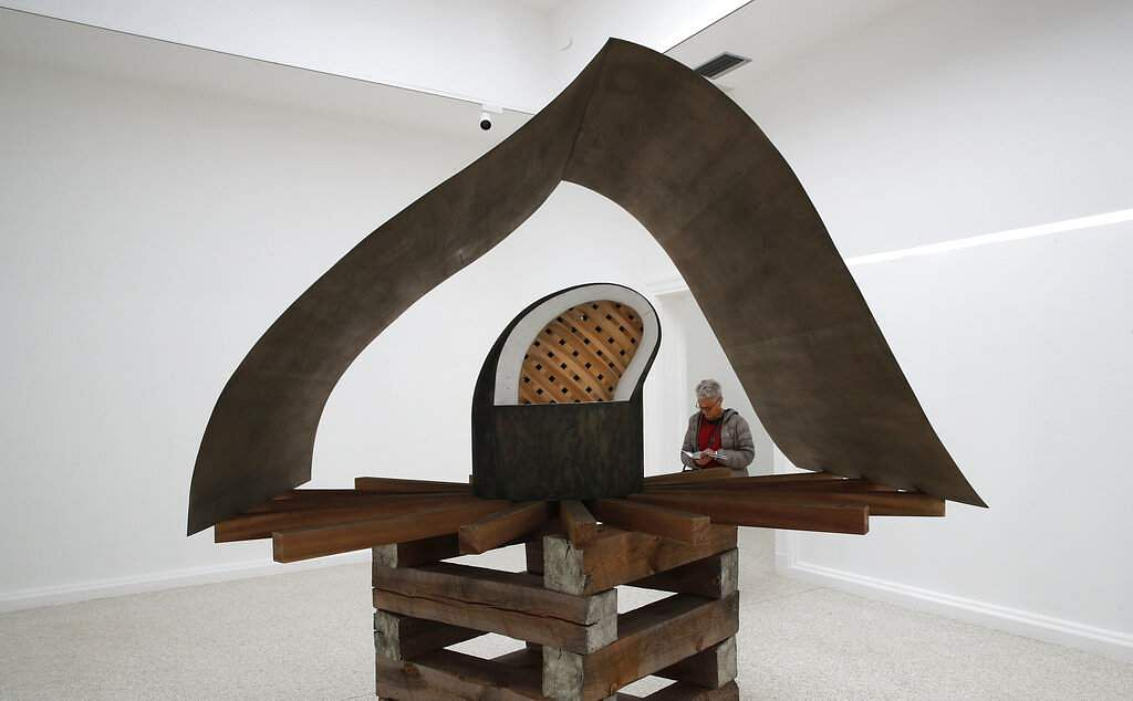 The Cloister Redoubt or Cloistered Doubt sculpture, a part of the Liberty installation by Martin Puryear, at the US pavilion of the 58th Biennale of Arts in Venice, Italy. (AP Photo/Antonio Calanni)