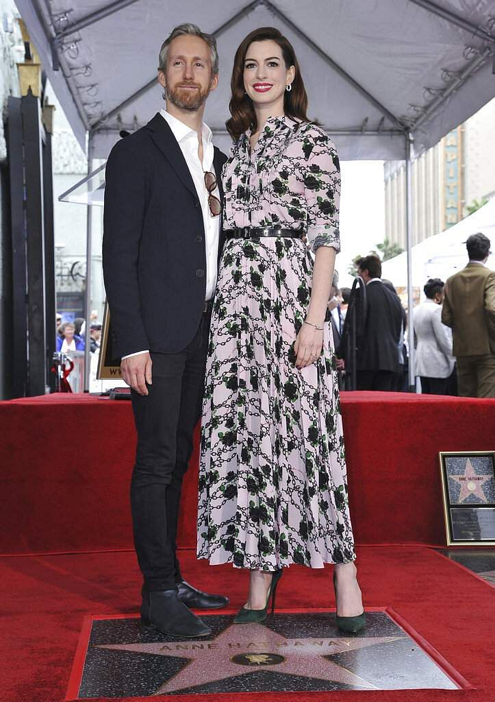 Actress Anne Hathaway and her husband Adam Shulman at a ceremony honouring Hathaway with a star on the Hollywood Walk of Fame, in Los Angeles. (Photo by Richard Shotwell/Invision/AP)