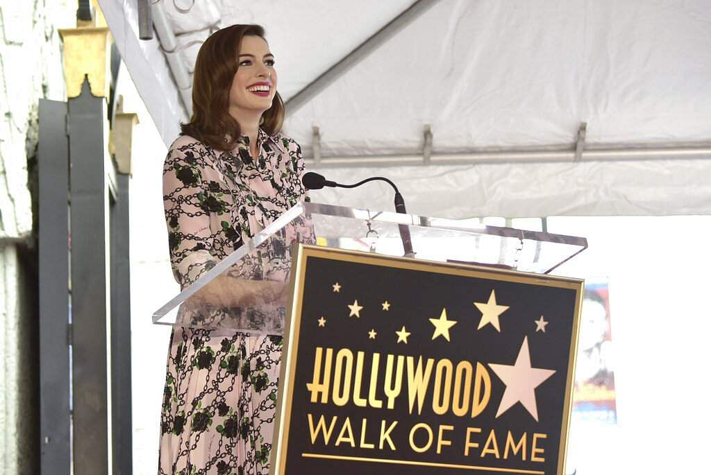 Actress Anne Hathaway speaks during a ceremony honouring her with a star on the Hollywood Walk of Fame on Thursday, May 9, 2019, in Los Angeles. (Photo by Richard Shotwell/Invision/AP)