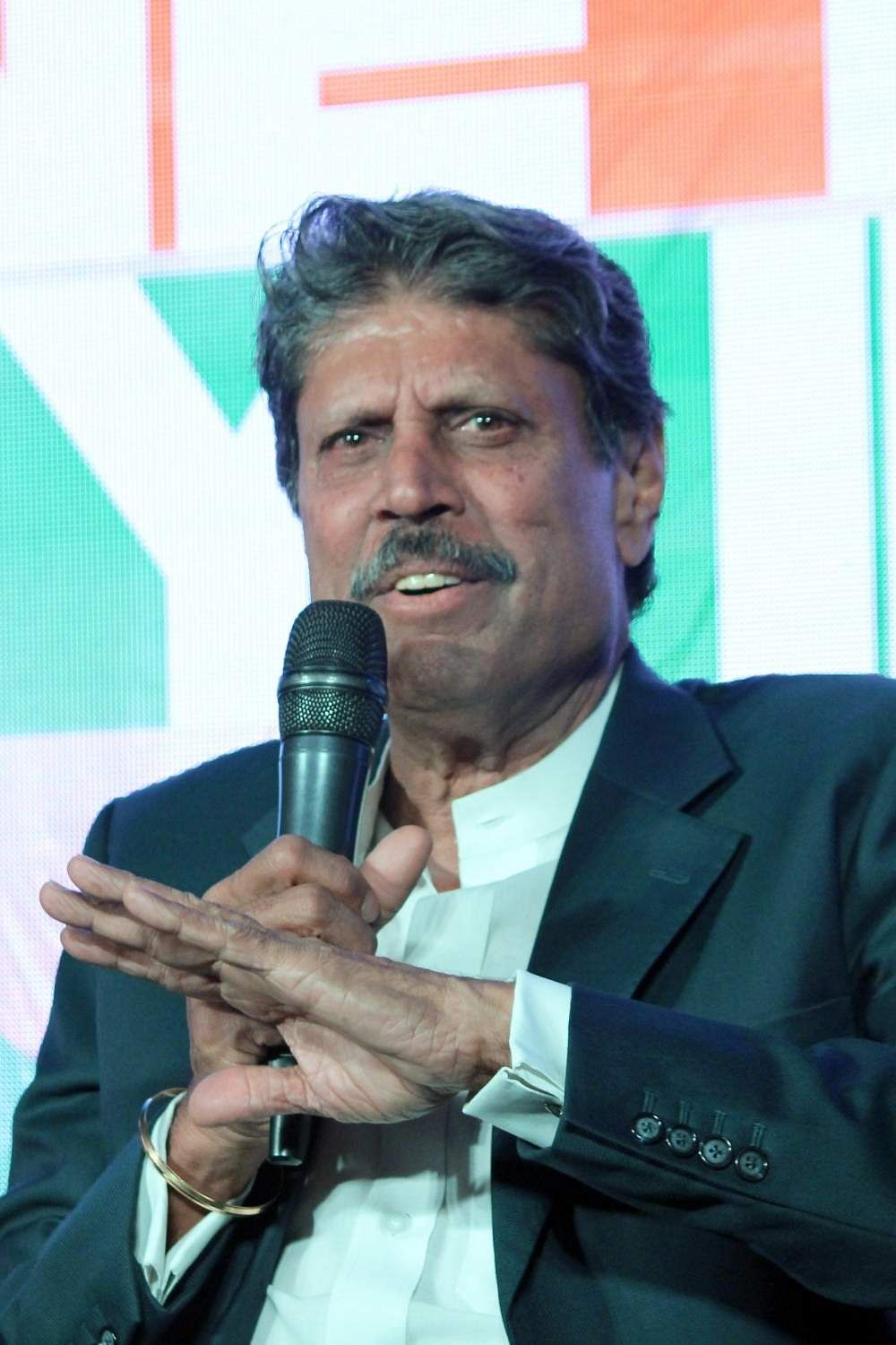 New Delhi: Former cricketer Kapil Dev addresses a press conference organised to launch of the song 'One India My India' in New Delhi on May 13, 2019. (Photo: Amlan Paliwal/IANS)
