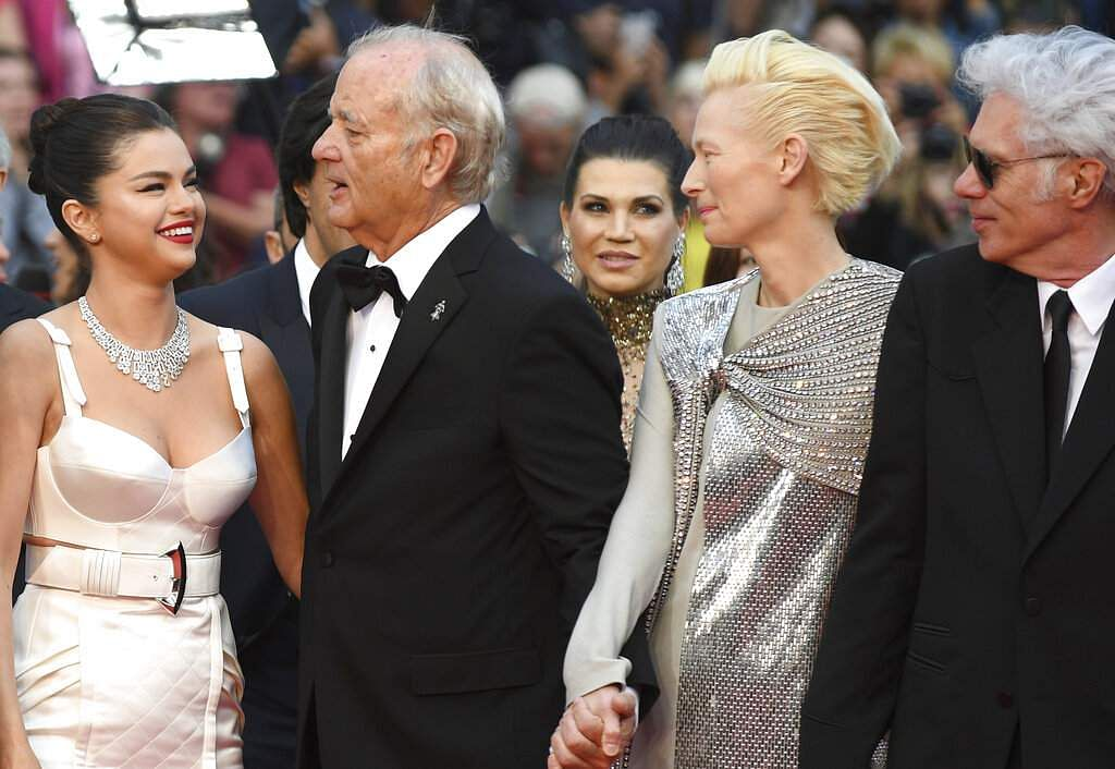 Actors Selena Gomez, Bill Murray, Tilda Swinton and director Jim Jarmusch at Cannes. (Photo by Arthur Mola/Invision/AP)