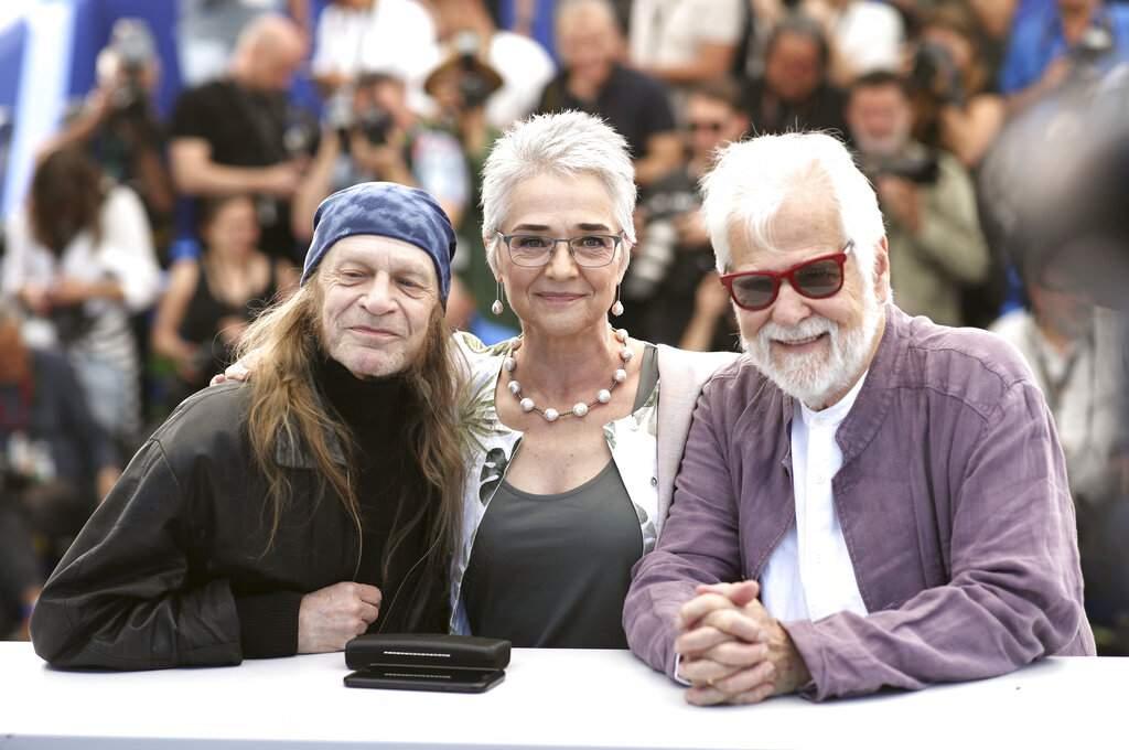Leon Vitali, Katharina Kubrick and producer Jan Harlan at Cannes. (AP Photo/Petros Giannakouris)