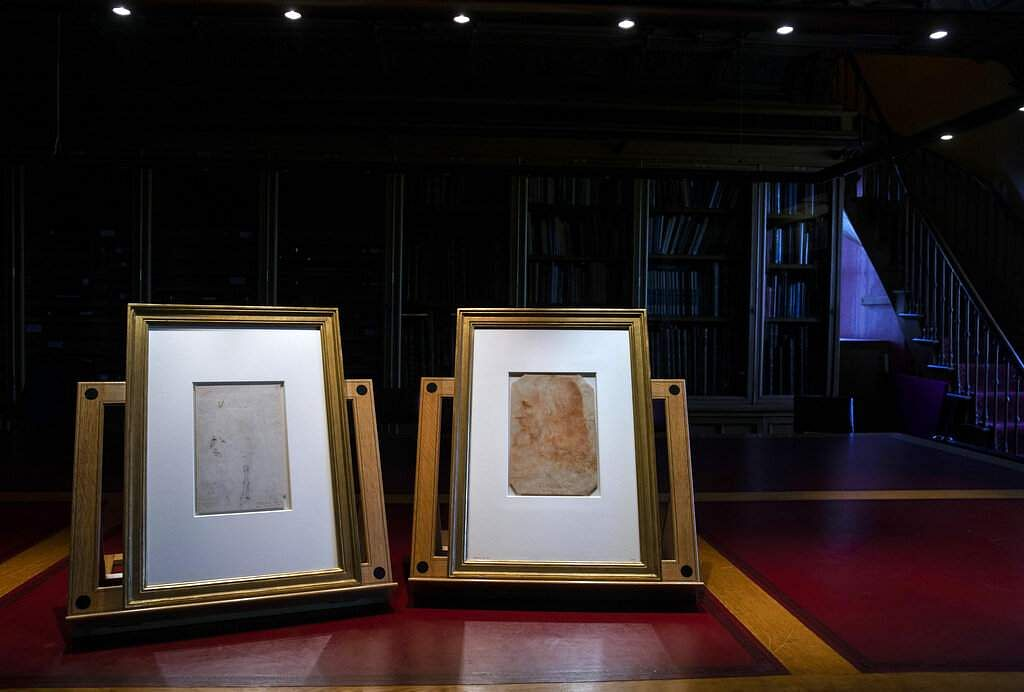 The drawing, confirmed as a portrait of Leonardo Da Vinci, forms part of the Royal Collection, at Windsor Castle in Windsor, England. (Steve Parsons/PA via AP)