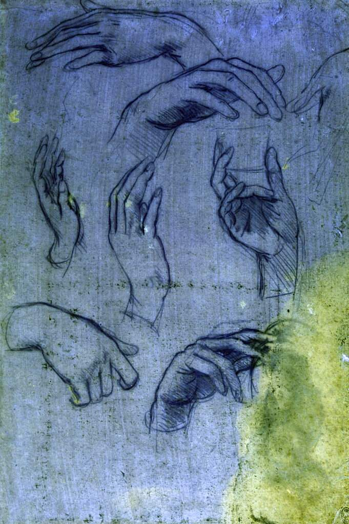 This undated handout from The Royal Collection Trust shows studies of hands for the Adoration of the Magi, by Leonardo da Vinci, seen under ultraviolet light. (The Royal Collection Trust via AP)