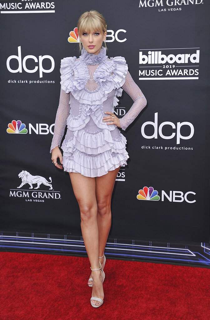 Taylor Swift arrives at the Billboard Music Awards on Wednesday, May 1, 2019, at the MGM Grand Garden Arena in Las Vegas. (Photo by Richard Shotwell/Invision/AP)