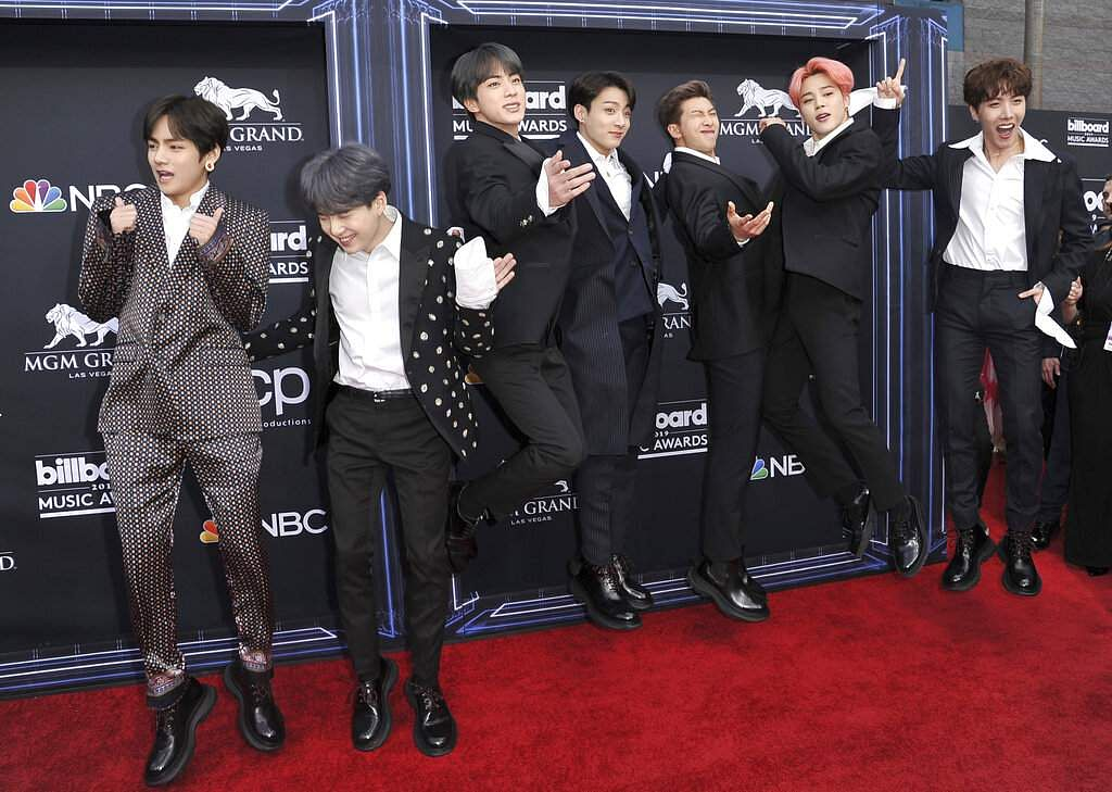 BTS arrives at the Billboard Music Awards on Wednesday, May 1, 2019, at the MGM Grand Garden Arena in Las Vegas. (Photo by Richard Shotwell/Invision/AP)