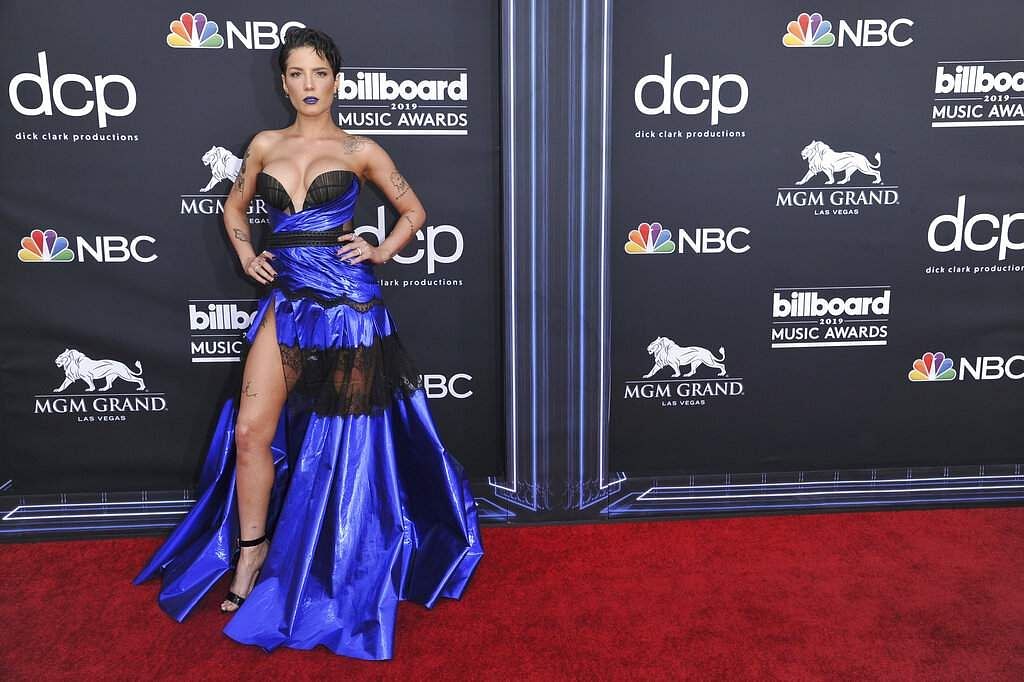 Halsey arrives at the Billboard Music Awards on Wednesday, May 1, 2019, at the MGM Grand Garden Arena in Las Vegas. (Photo by Richard Shotwell/Invision/AP)