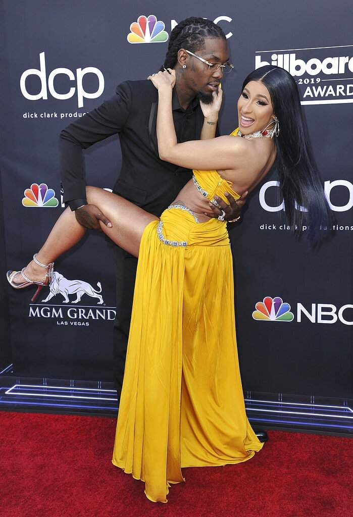 Offset, left, and Cardi B arrive at the Billboard Music Awards on Wednesday, May 1, 2019, at the MGM Grand Garden Arena in Las Vegas. (Photo by Richard Shotwell/Invision/AP)