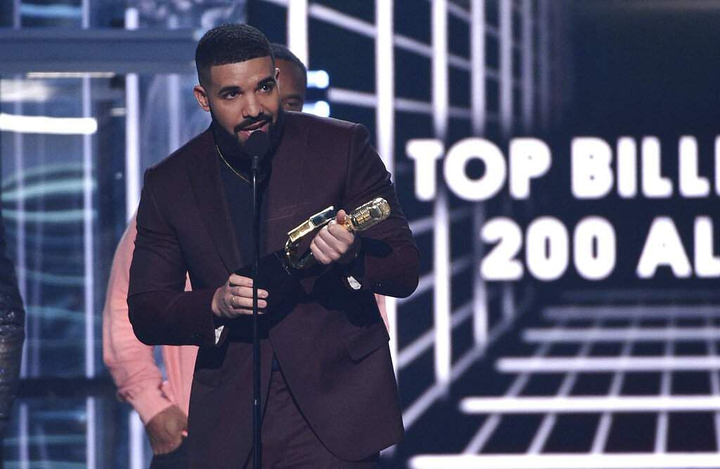Drake accepts the top billboard 200 album award for 'Scorpion' at the Billboard Music Awards on Wednesday, May 1, 2019, at the MGM Grand Garden Arena in Las Vegas. (Photo by Chris Pizzello/Invision/AP
