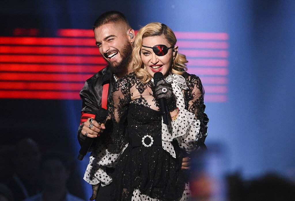 Maluma, left, and Madonna perform 'Medellin' at the Billboard Music Awards on Wednesday, May 1, 2019, at the MGM Grand Garden Arena in Las Vegas. (Photo by Chris Pizzello/Invision/AP)