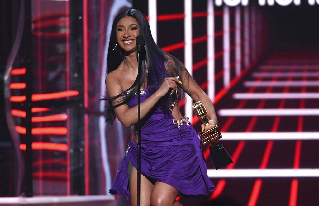 Cardi B accept the award for top 100 song for 'Girls Like You' at the Billboard Music Awards at the MGM Grand Garden Arena in Las Vegas. (Photo by Chris Pizzello/Invision/AP)