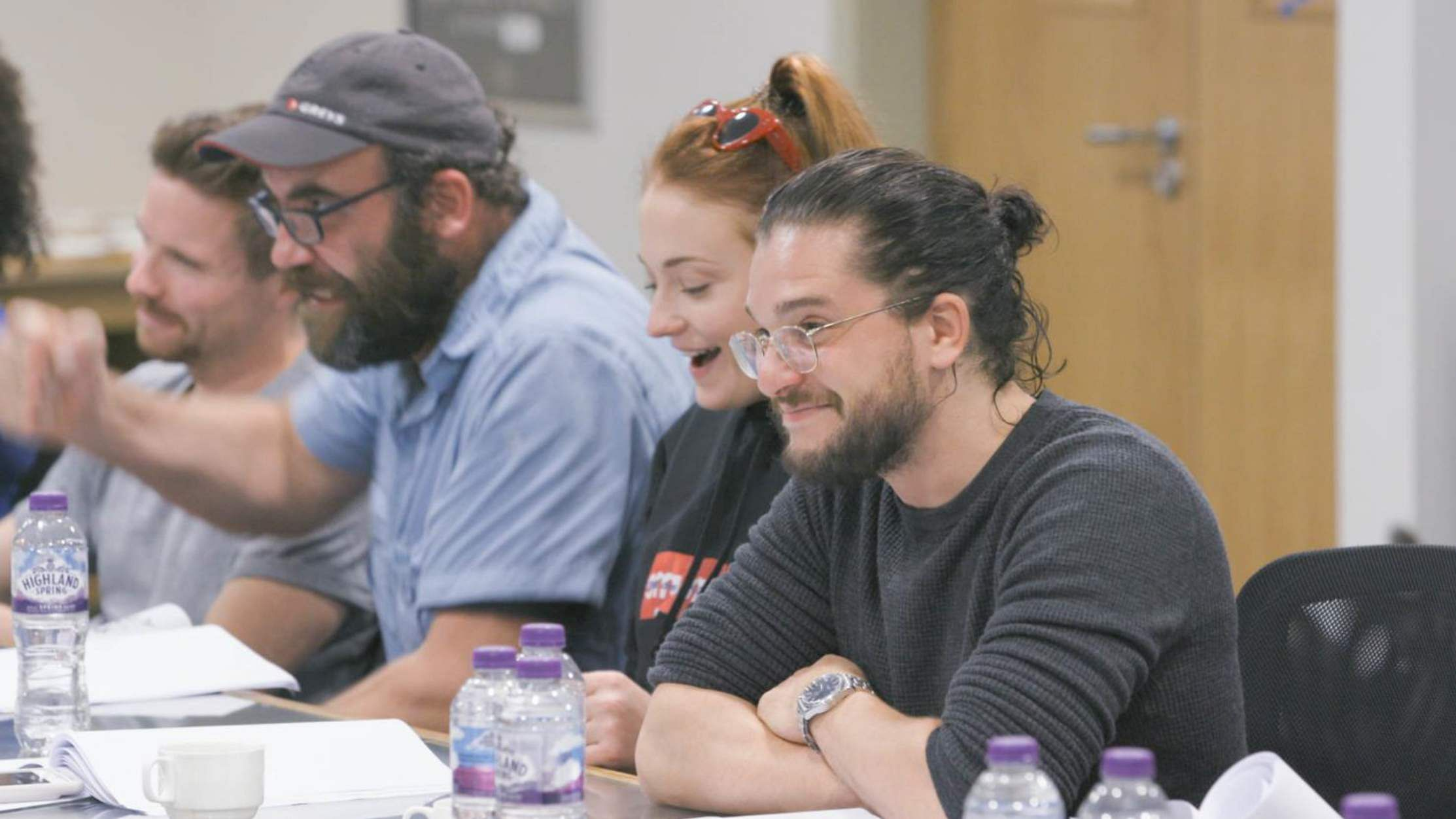 (L to R) Joe Dempsie, Rory McCann, Sophie Turner, and Kit Harington. Game of Thrones, HBO and related service marks are the property of Home Box office, Inc. All rights reserved.