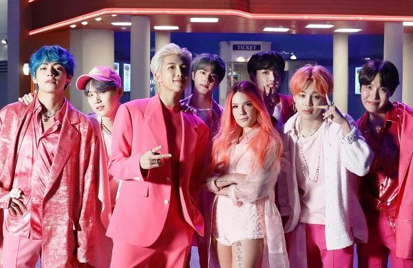 BTS with Halsey (in centre)