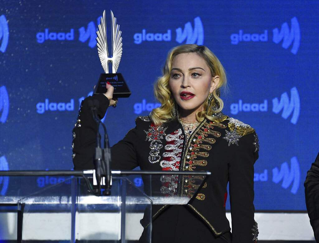 Madonna accepts the advocate for change award at the 30th annual GLAAD Media Awards in New York. (Photo by Evan Agostini/Invision/AP)