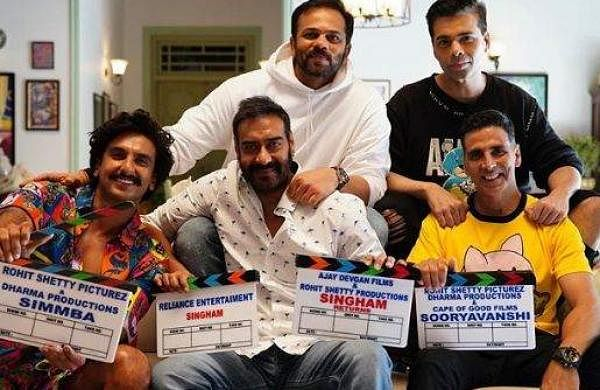 Rohit Shetty with Ranveer Singh, Ajay Devgn and Akshay Kumar