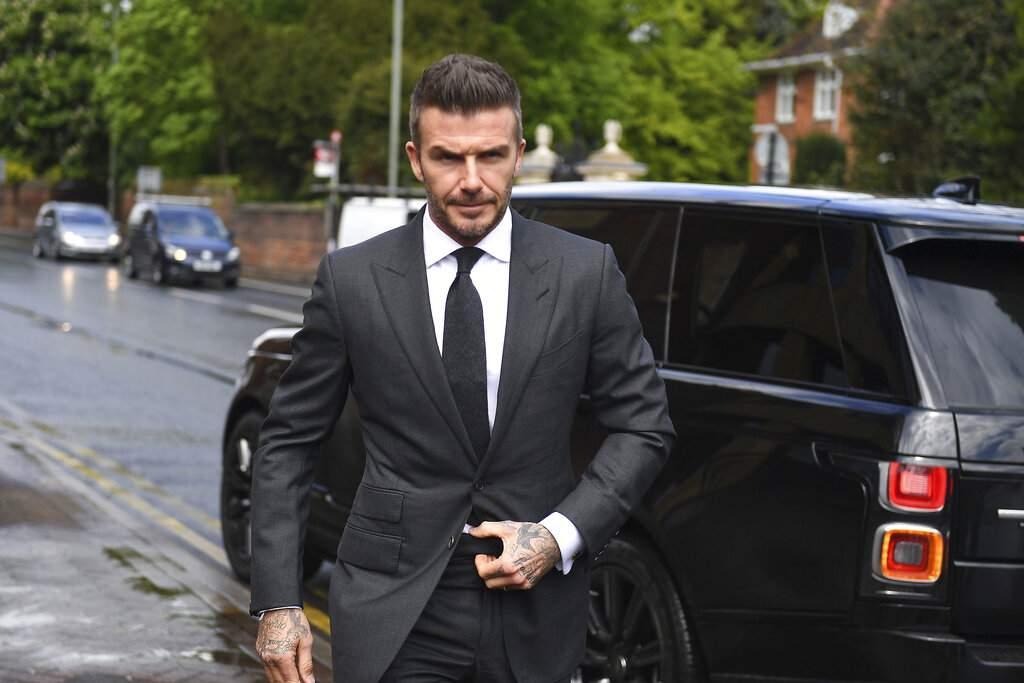 David Beckham at Bromley Magistrates Court (Victoria Jones/PA via AP)