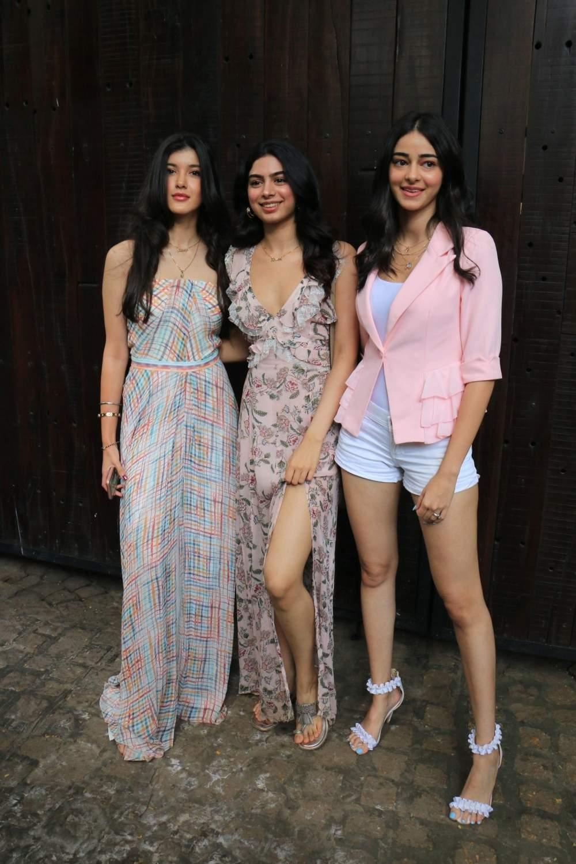 Shanaya Kapoor, Khushi Kapoor and Ananya Pandey arrive to attend actress Sonam Kapoor's birthday party at Anil Kapoor's house in Mumbai on June 9, 2019. (Photo: IANS)
