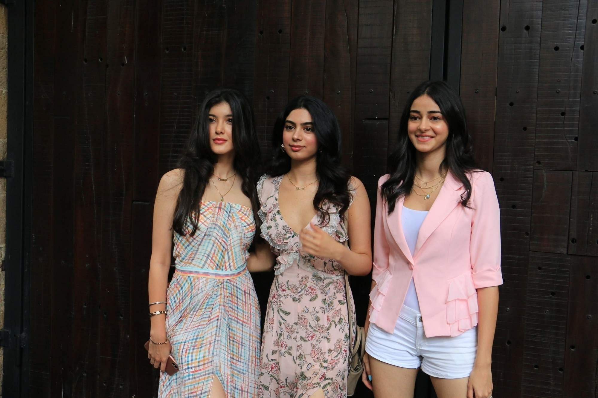 Shanaya Kapoor, Khushi Kapoor and Ananya Pandey arrive to attend actress Sonam Kapoor's birthday party at Anil Kapoor's house in Mumbai on June 9, 2019. (Photo: IANS)