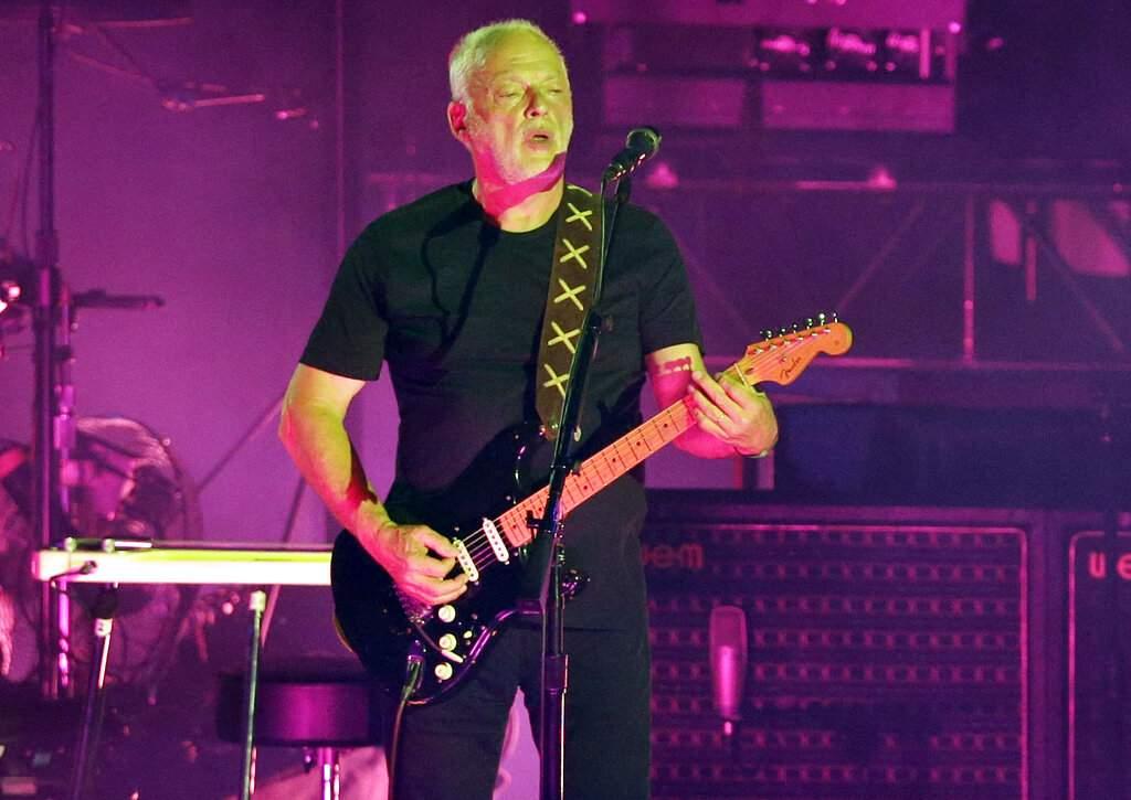 David Gilmour performs in Pompeii, Italy. (AP Photo/Gregorio Borgia)