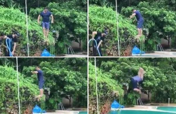 Watch: Viral video shows Salman Khan nailing the backflip dive into a pool