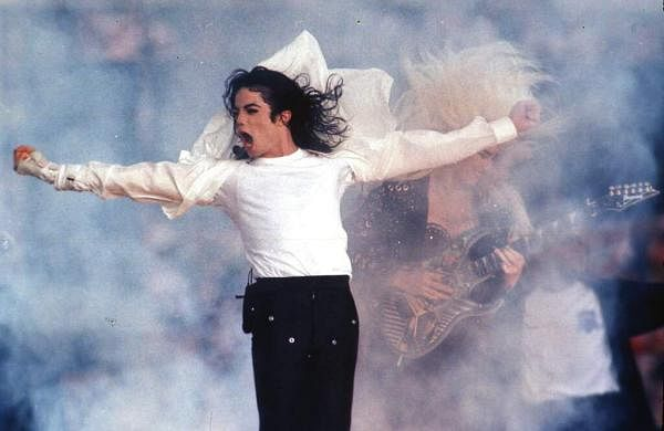 FILE - This Feb. 1, 1993 file photo shows Pop superstar Michael Jackson performing during the halftime show at the Super Bowl in Pasadena.