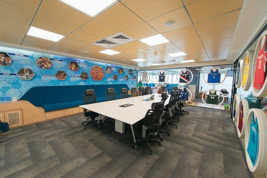 Slam dunk with NBA India! Here's an insider view of their new workspace at Bandra Kurla Complex, Mumbai. NBA Office - Champions (Conference Room).