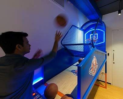 Slam dunk with NBA India! Here's an insider view of their new workspace at Bandra Kurla Complex, Mumbai. NBA Office - Experiential Zone.