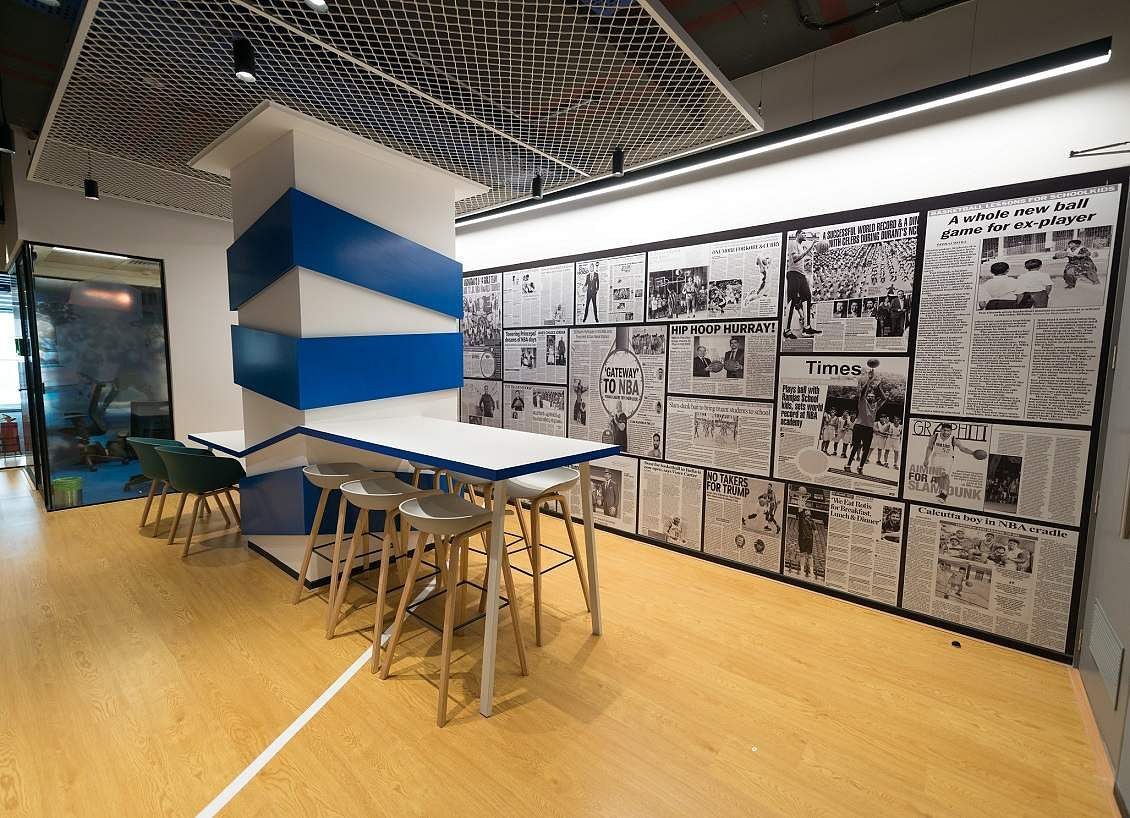 Slam dunk with NBA India! Here's an insider view of their new workspace at Bandra Kurla Complex, Mumbai. NBA Office - Pantry Area.