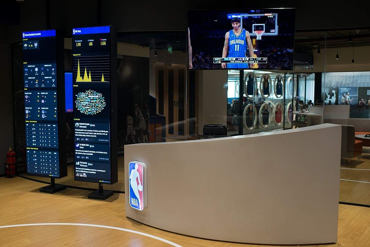 Slam dunk with NBA India! Here's an insider view of their new workspace at Bandra Kurla Complex, Mumbai. NBA Office - Reception Area.