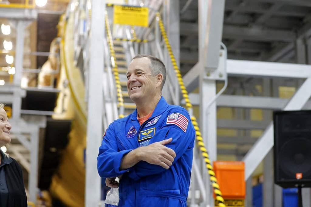 NASA astronaut Ricky Arnold at a preview of the core stage for NASA's Space Launch System (AP Photo/Gerald Herbert)