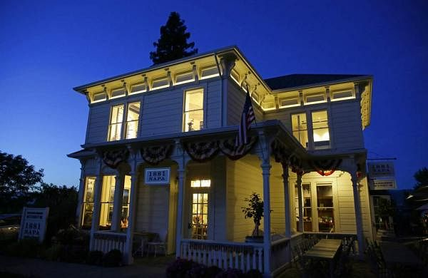Dusk falls on 1881 Napa in Oakville, Calif. 1881 Napa, a wine history museum & tasting salon in Oakville, which offers tours on Napa Valley's history & early pioneers (AP Photo/Eric Risberg)