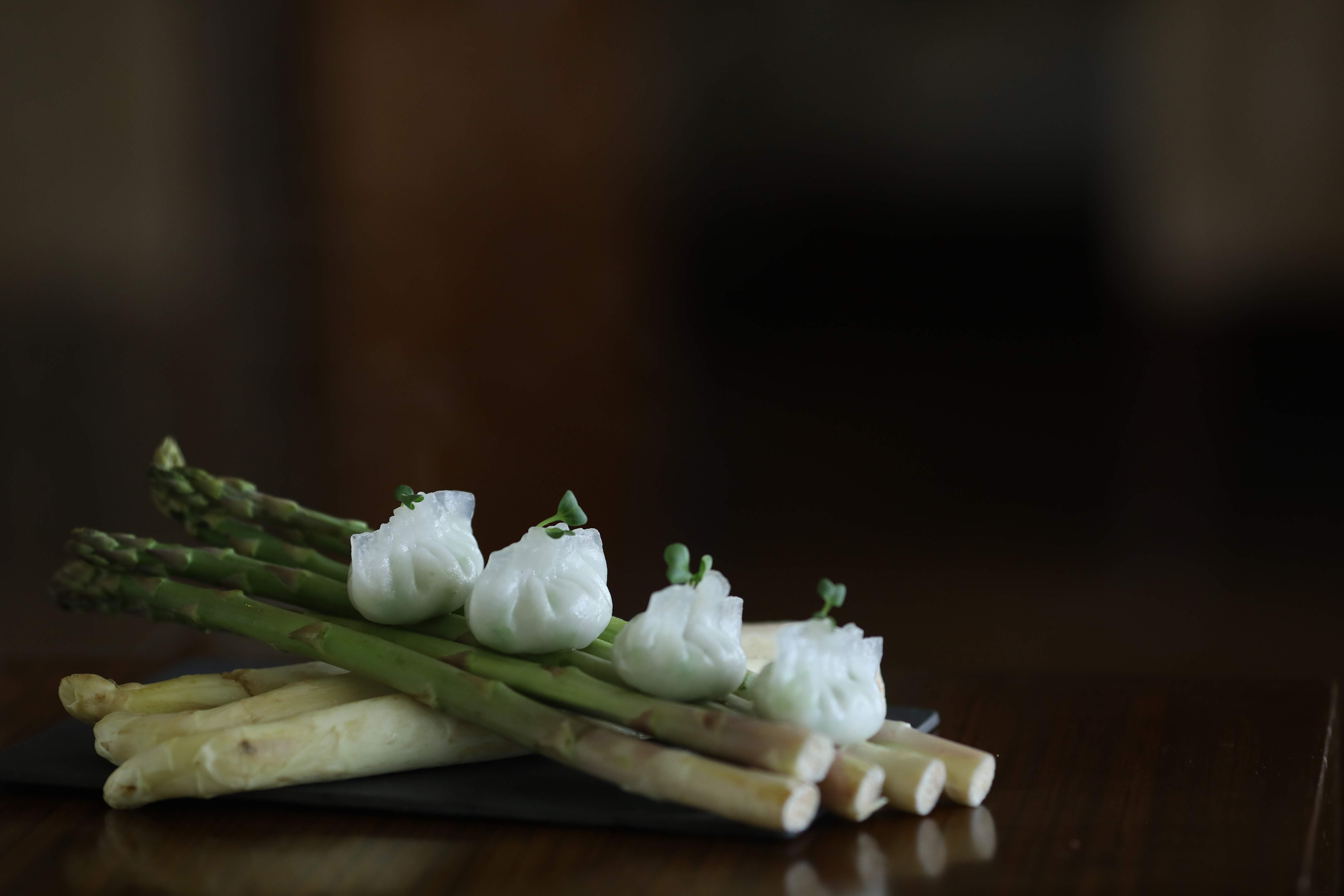 New menu at Golden Dragon, Taj Coromandel, Chennai, curated by Master Chef Lian Yun Lei. Duo of Asparagus.