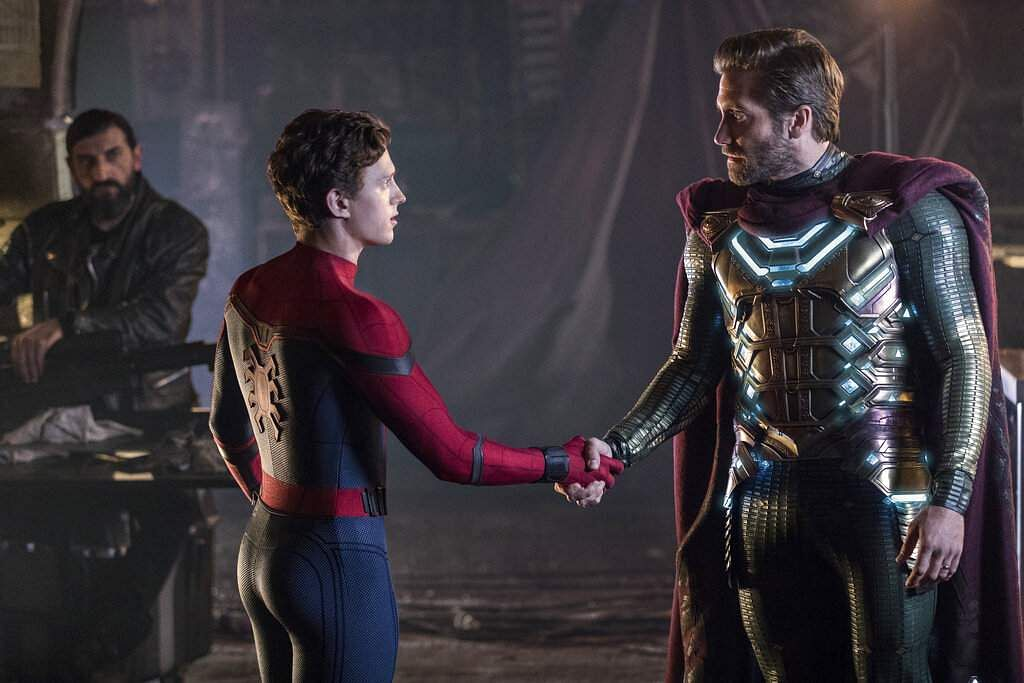 Sony Pictures image shows Numan Acar, Tom Holland & Jacky Gyllenhaal in a scene from Spider-Man: Far From Home (Jay Maidment/Columbia Pictures/Sony via AP)
