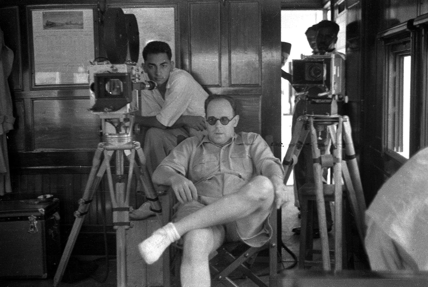 Josef Wirsching and assistant RD Pareenja while filming live scenes from a moving train for the Bombay Talkies production of Jawani-Ki-Hawa (1935).