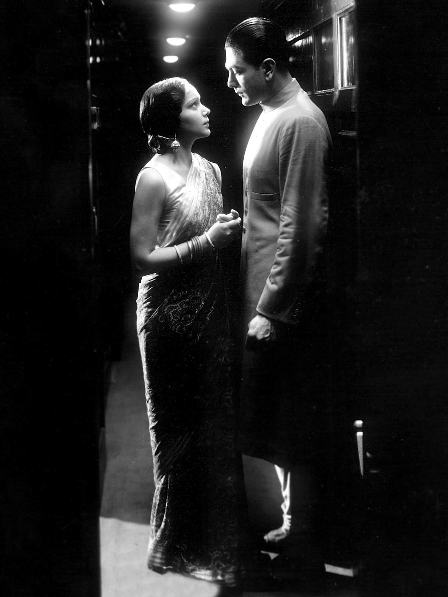 Devika Rani and Najmal Hussain in an iconic publicity still for the first Bombay Talkies production, Jawani-Ki-Hawa (1935).