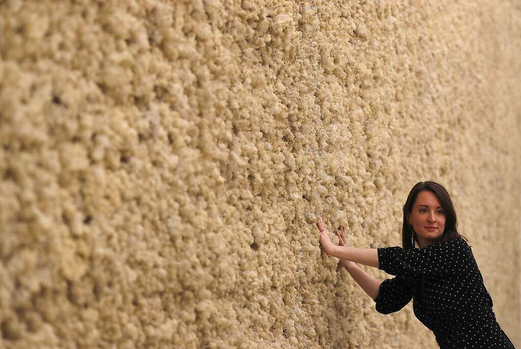 A visitor touches the Moss Wall, as part of the exhibition Olafur Eliasson: In Real Life at the Tate Modern Gallery in London. (AP Photo/Frank Augstein)