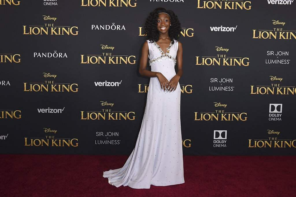 Shahadi Wright Joseph arrives at the world premiere of 'The Lion King' on Tuesday, July 9, 2019, at the Dolby Theatre in Los Angeles. (Photo by Jordan Strauss/Invision/AP)