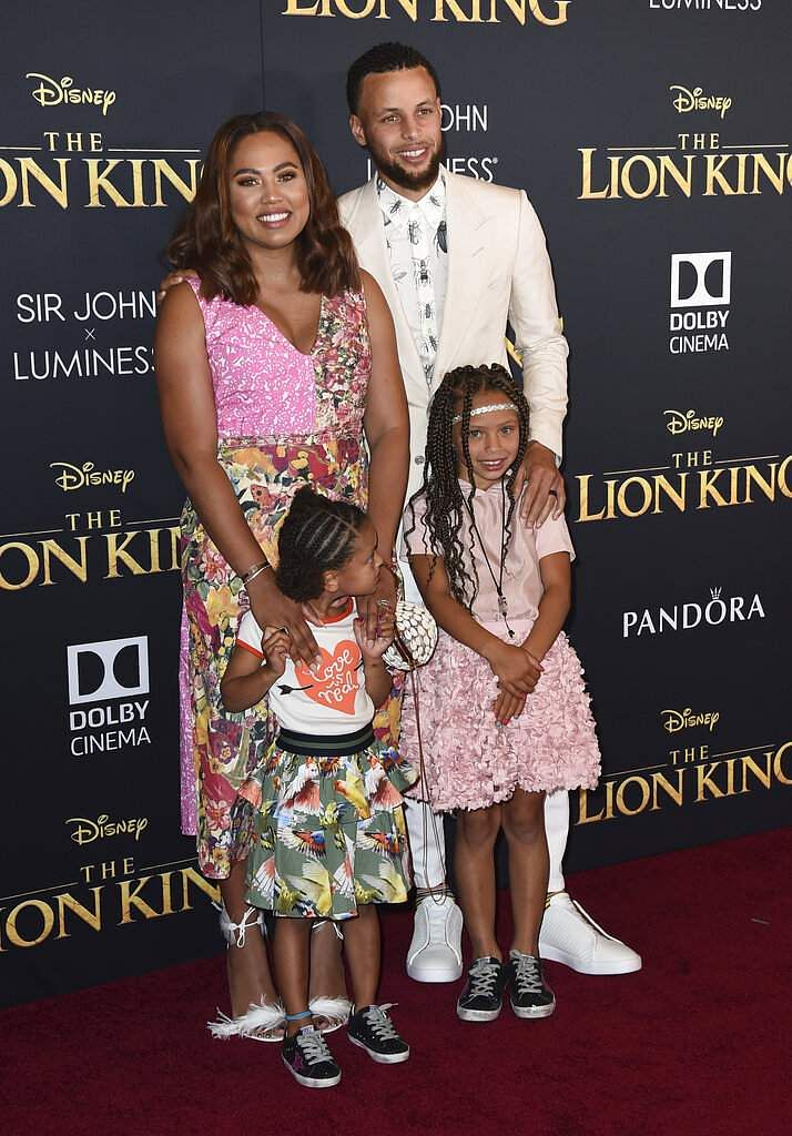 NBA player Stephen Curry of the Golden State Warriors, Ayesha Curry and their children, Ryan and Riley, at the The Lion King world premiere in LA. (Photo by Jordan Strauss/Invision/AP)