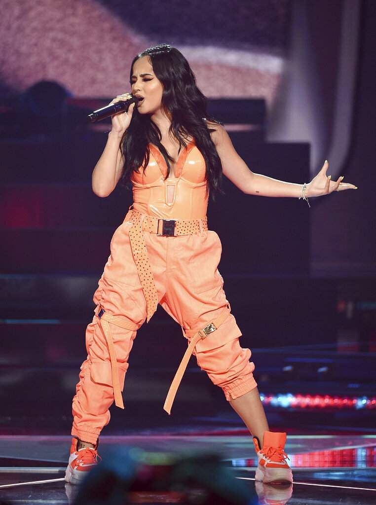 Singer Becky G performs at Amazon Music's Prime Day concert at the Hammerstein Ballroom on Wednesday, July 10, 2019, in New York. (Photo by Evan Agostini/Invision/AP)