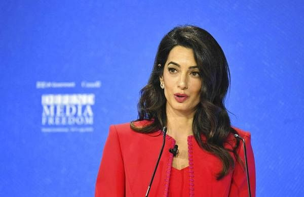 Amal Clooney speaks during the Global Conference for Media Freedom at The Printworks in London, Wednesday, July 10, 2019. (Dominic Lipinski/PA via AP)