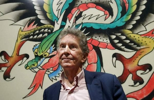 Ed Hardy at a preview of Ed Hardy: Deeper than Skin at the de Young Museum in San Francisco, a new show that sheds light on the man as a prolific artist and tattoo pioneer. (AP Photo/Jeff Chiu)