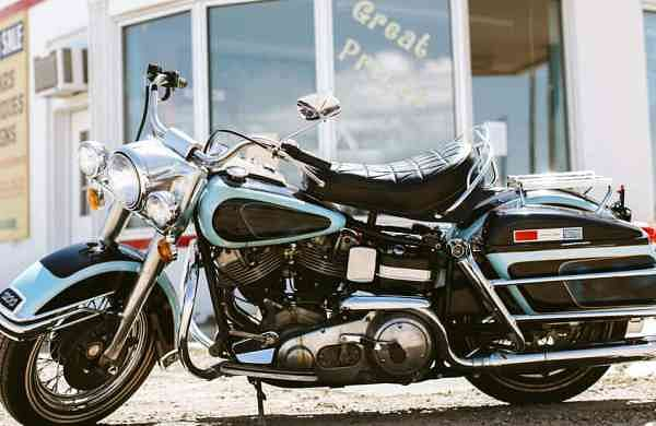 1976 Harley Davidson FLH 1200 Electra Glide owned by Elvis Presley. (GWS Auctions via AP)