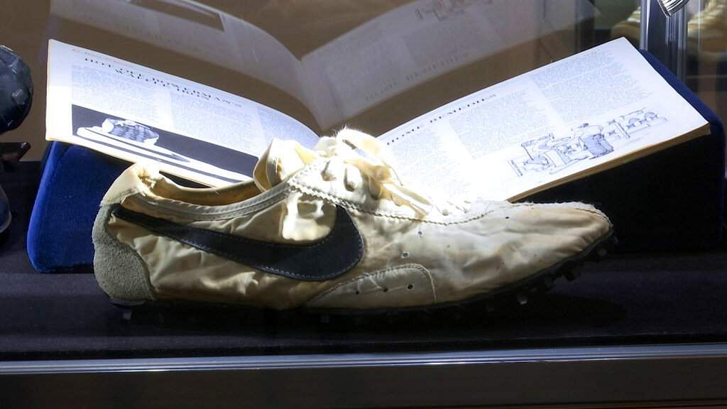 A pair of Nike Mags, inspired by Back to the Future, among 100 pairs of rare sneakers up for auction at Sotheby's. Bidding runs through July 23. (AP Photo/Ted Shaffrey)