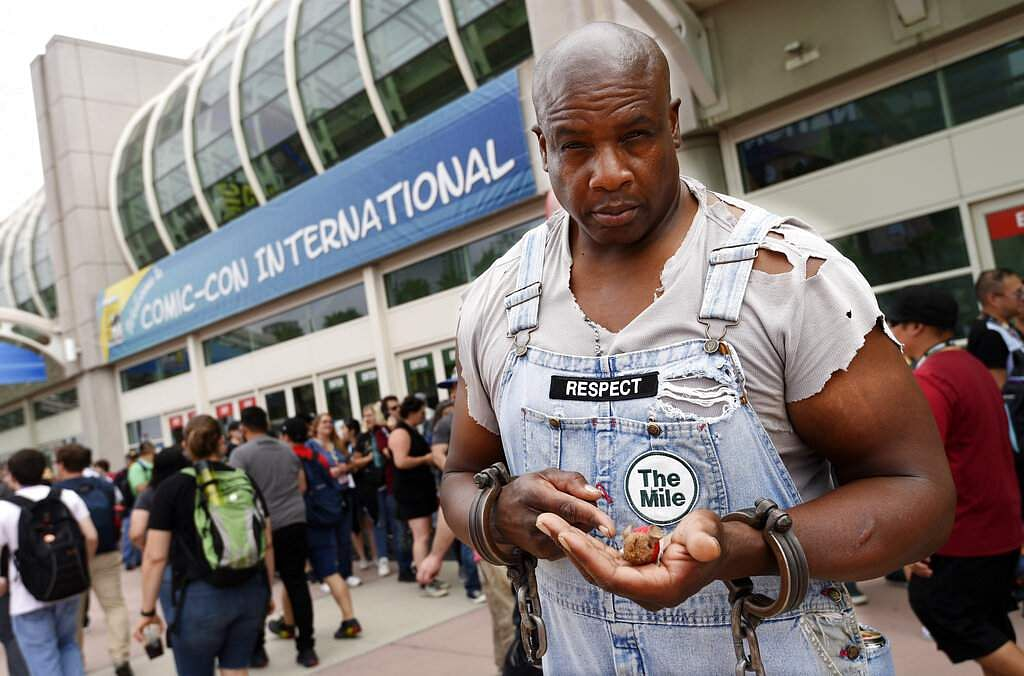 Sherman Blakeley of Big Bear, Calif., dressed as the John Coffey character from the 1999 film The Green Mile, at the 2019 Comic-Con International: San Diego. (Photo by Chris Pizzello/Invision/AP)