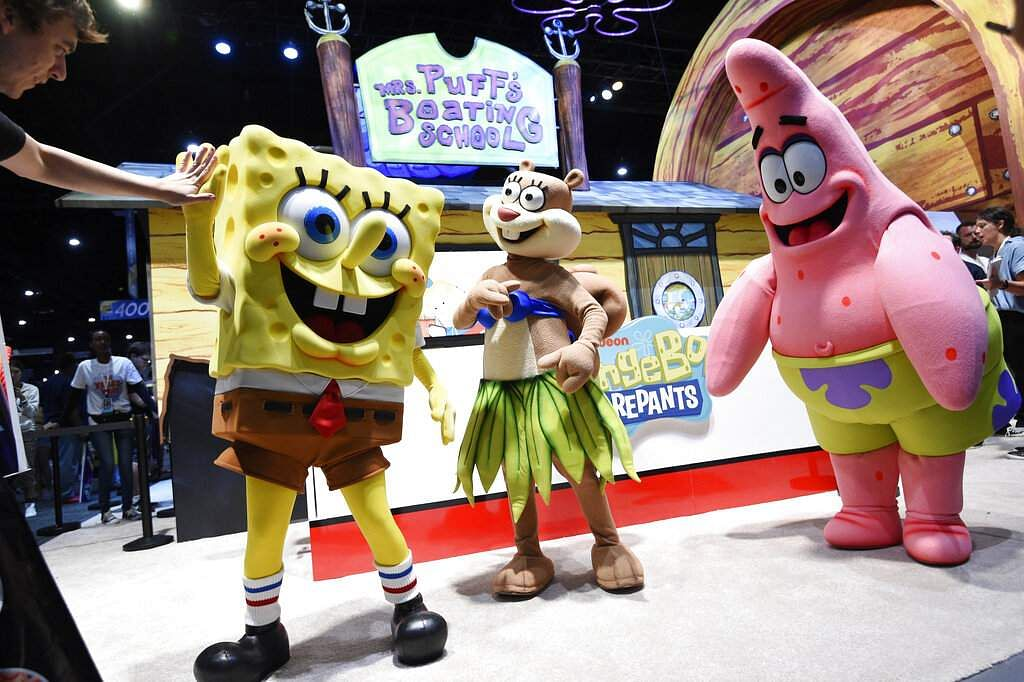 SpongeBob SquarePants characters Spongebob Squarepants, Sandy Cheeks and Patrick Star at the 2019 Comic-Con International: San Diego. (Photo by Chris Pizzello/Invision/AP)