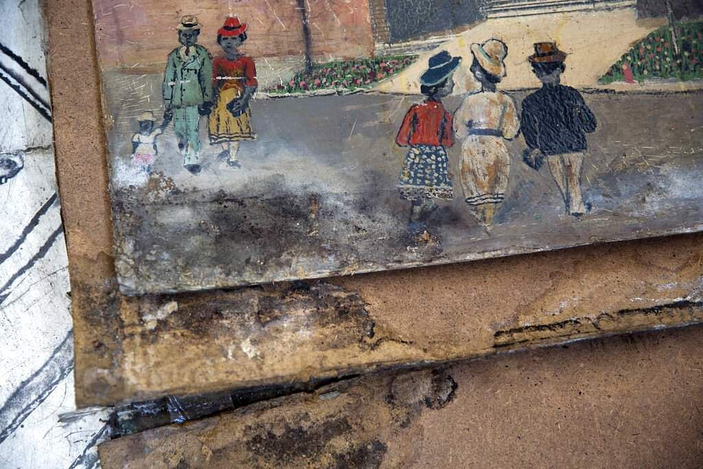 A painting damaged in the 2010 earthquake. The museum needs $50,000 to reopen, as most of its collection was extensively damaged in the quake. (AP Photo/Dieu Nalio Chery)