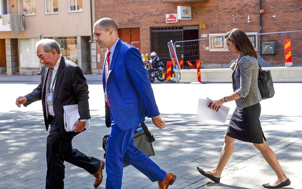 US Deputy Foreign Minister Carl Risch on his way to visit rapper A$AP Rocky in Stockholm (Fredrik Persson/TT News Agency via AP)