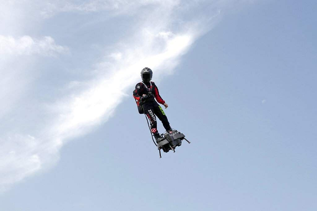 On Thursday, Zapata will attempt to fly into the record books by becoming the first person in human history to zoom across the Channel aboard a jet-powered 'hover-board'. (AP Photo/Michel Spingler)
